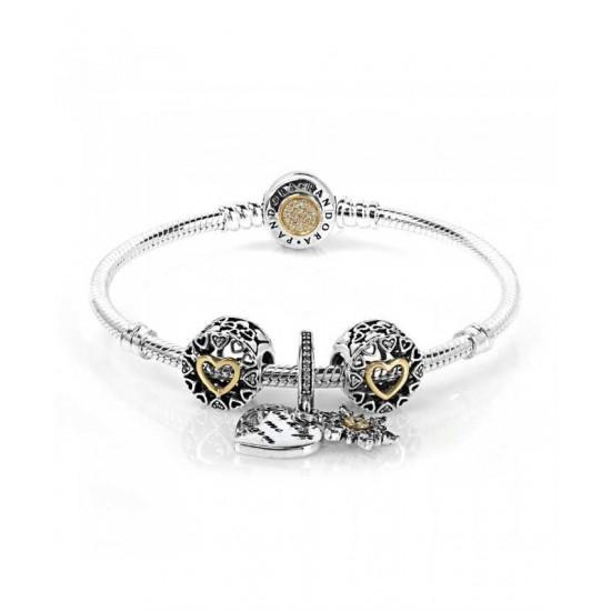 Pandora Bracelet-Snowflake Heart Two Tone Complete Jewelry