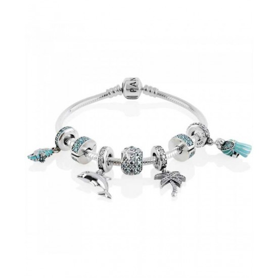 Pandora Bracelet-Teal Elegance Complete Jewelry Factory Outlet