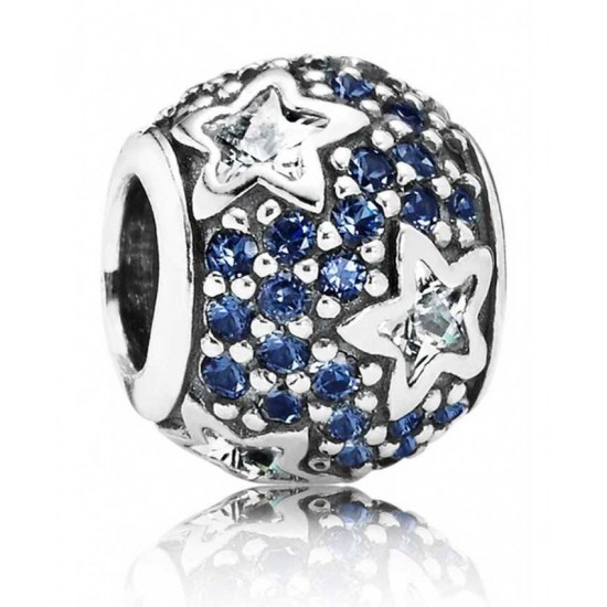Pandora Charm-Silver Midnight Blue Pave Stars Jewelry Best Sale