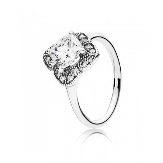 Pandora Ring-Silver Crystallised Floral Fancy Cubic Zirconia Jewelry