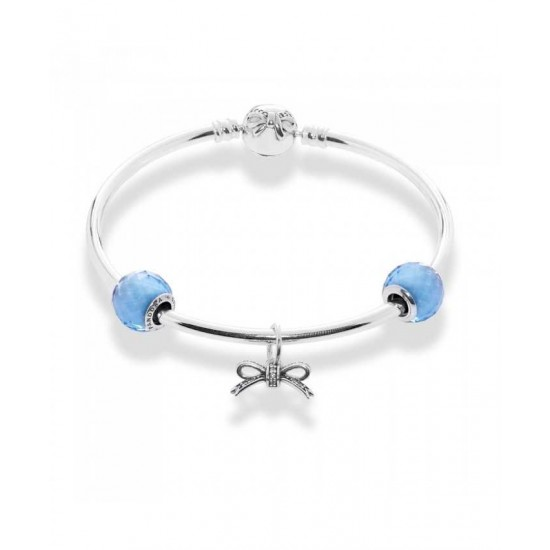 Pandora Bangle-Sky Blue Bow Complete Jewelry Factory Outlet