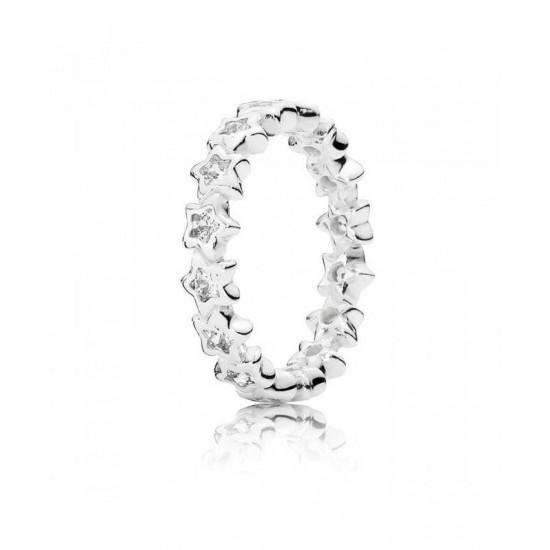 Pandora Ring-Silver Starshine Star Band Jewelry