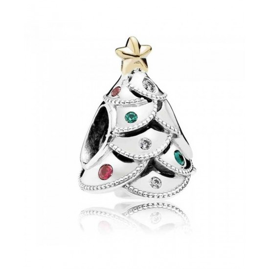 Pandora Charm-Silver 14ct Gold Festive Tree Jewelry