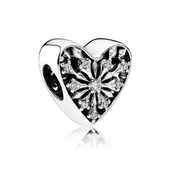 Pandora Charm-Frosted Heart Jewelry