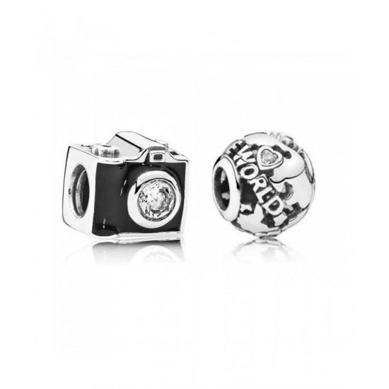 Pandora Charm-Silver Around The World Jewelry Cheap Sale