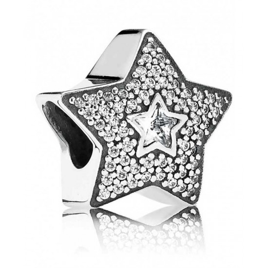 Pandora Charm-Silver Pave Wishing Star Jewelry Cheap Store