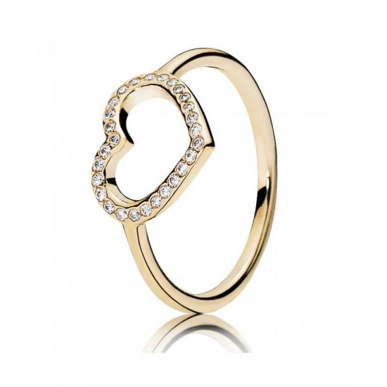 Pandora Ring-14ct Gold Cubic Zirconia Open Heart Jewelry Outlet Store