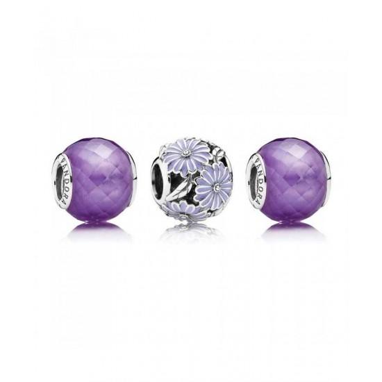 Pandora Charm-Purple Daisy Jewelry