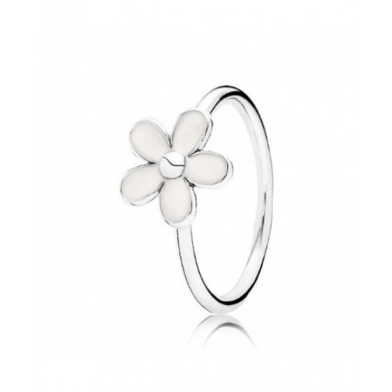 Pandora Ring-Silver White Enamel Flower Jewelry