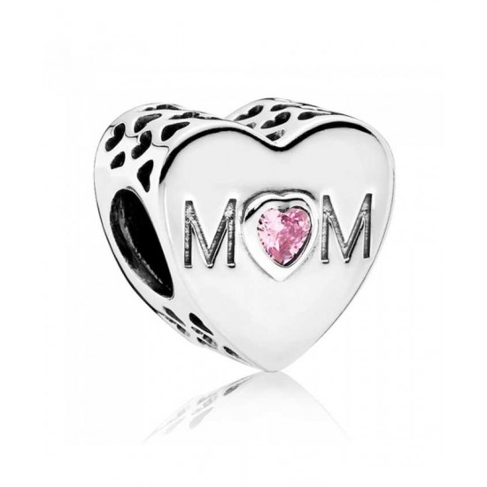 Pandora Charm-Silver Pink Cubic Zirconia Mother Heart Jewelry