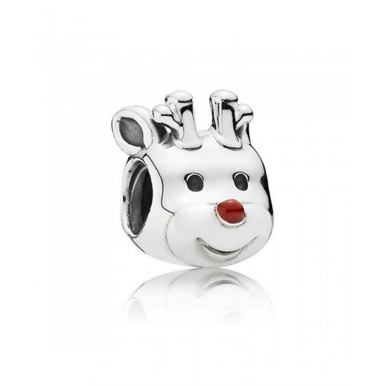 Pandora Charm-Silver Red Nosed Reindeer Jewelry