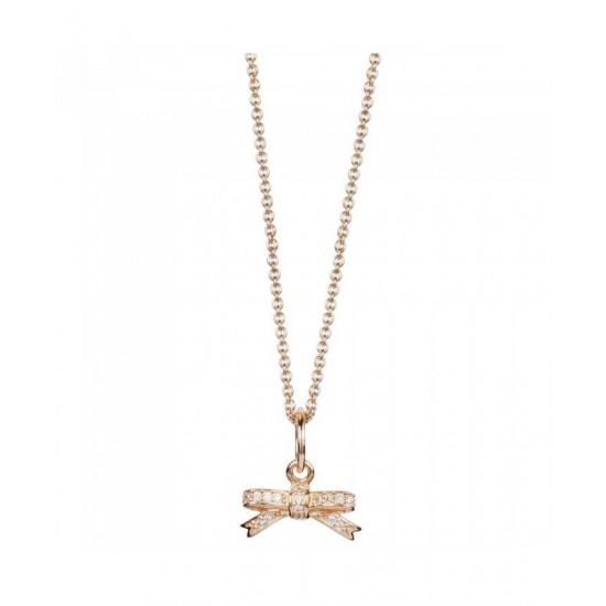 Pandora Necklace-Rose Sparkling Bow Jewelry