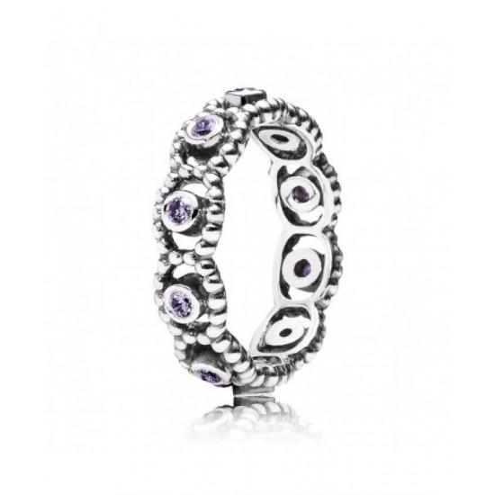 Pandora Ring-Silver Purple Cz Romance Jewelry