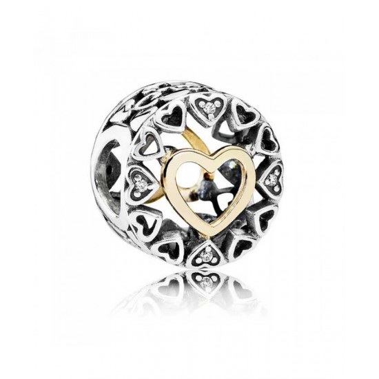 Pandora Charm-Silver 14ct Gold Circle Of Love Jewelry