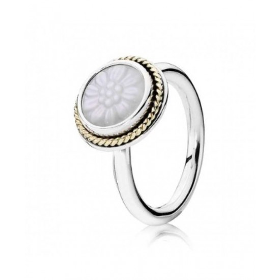 Pandora Ring-Silver 14ct Gold Mop Flower Jewelry