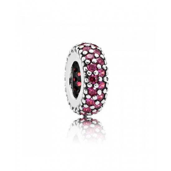 Pandora Spacer-Silver Red Pave Cubic Zirconia Jewelry