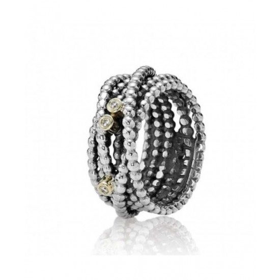 Pandora Ring-Silver And 14ct Gold Diamond Multi Jewelry