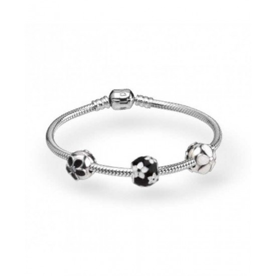 Pandora Bracelet-Enamel Flowers Complete Jewelry