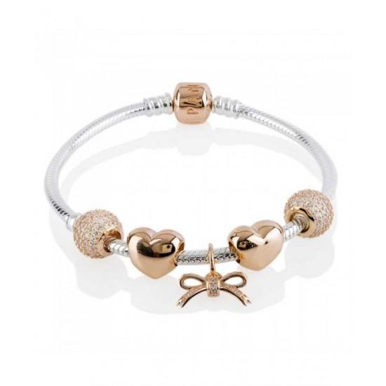 Pandora Bracelet-Rose Sparkling Bow Complete Jewelry