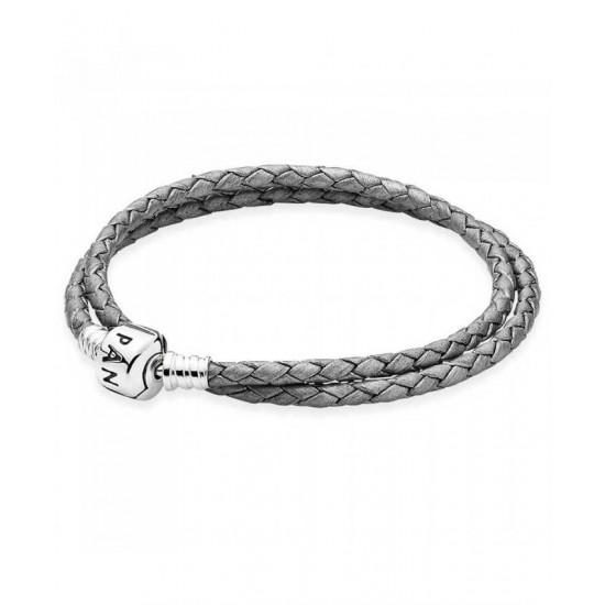 Pandora Bracelet-Silver Grey Double Leather Jewelry