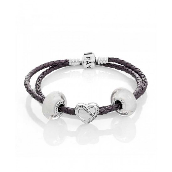 Pandora Bracelet-Silver Ribbon Of Love Complete Jewelry