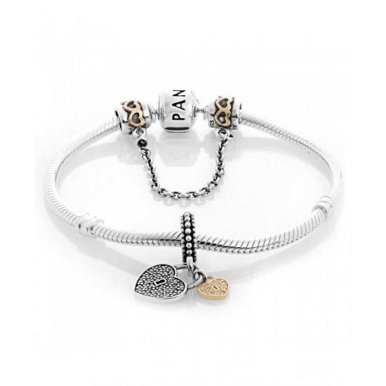 Pandora Bracelet-Golden Love Locks Complete Jewelry Store No Tax