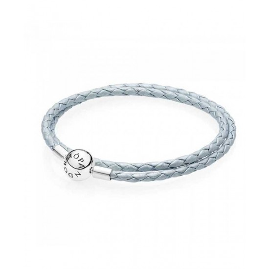 Pandora Bracelet-Oceanic Blue Leather Double Woven Jewelry