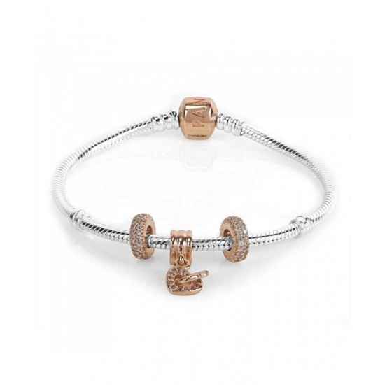 Pandora Bracelet-Rose Interlocked Hearts Complete Jewelry