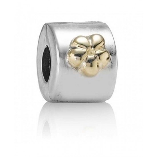 Pandora Clip-14ct Gold And Silver Flower Spacer Jewelry