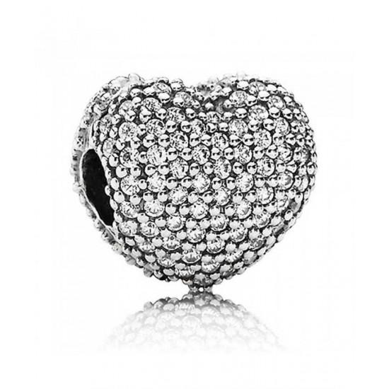 Pandora Clip-Silver Pave Cubic Zirconia Heart Jewelry