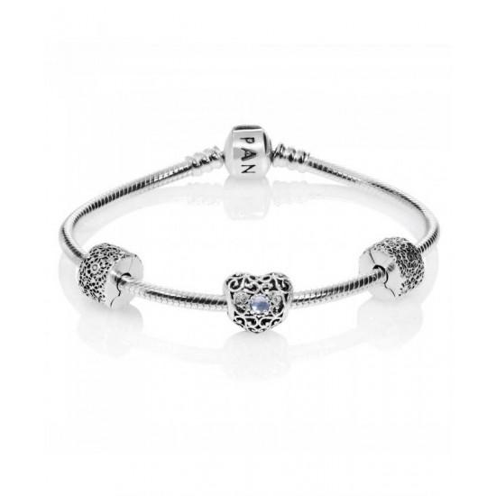 Pandora Bracelet-March Birthstone Complete Jewelry
