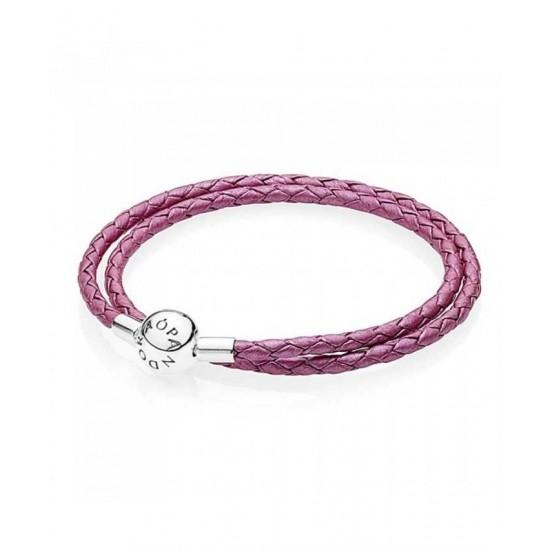 Pandora Bracelet-Oriental Bloom Pink Leather Double Woven Jewelry