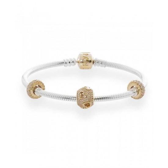 Pandora Bracelet-Tumbling Hearts Complete Jewelry
