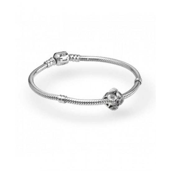 Pandora Bracelet-Floral Heart Padlock Complete Jewelry