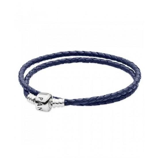 Pandora Bracelet-Silver And Dark Blue Double Leather Jewelry