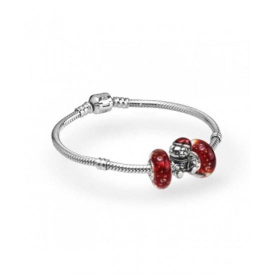 Pandora Bracelet-Silver Red Christmas Teddy Complete Jewelry