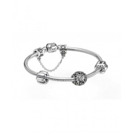 Pandora Bracelet-Hearts Entwined Silver Complete Jewelry