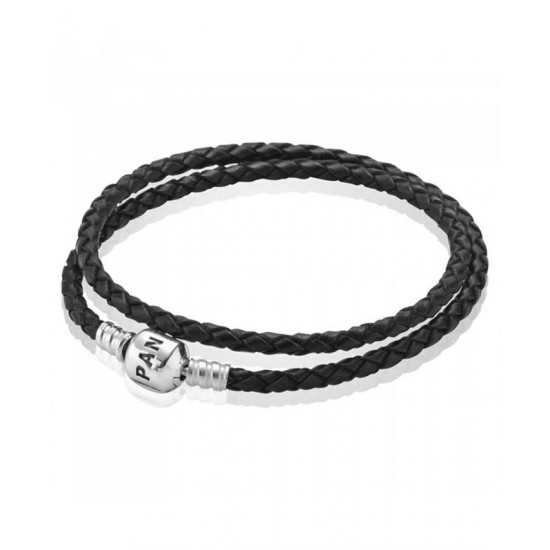 Pandora Bracelet-Silver And Black Double Braided Leather Jewelry