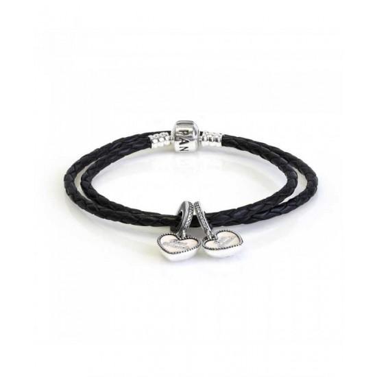 Pandora Bracelet-Best Friends Double Leather Complete Jewelry