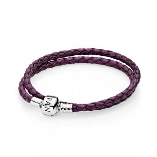 Pandora Bracelet-Silver And Purple Braided Jewelry