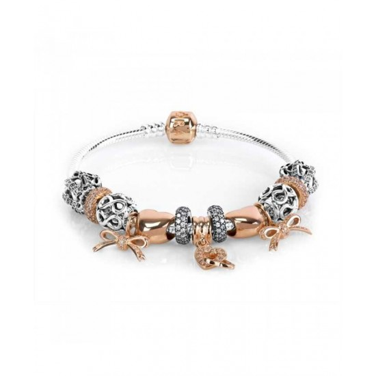 Pandora Bracelet-Rose Love Ties Complete Jewelry