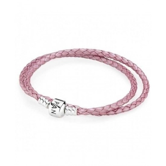 Pandora Bracelet-Silver And Pink Double Leather Jewelry
