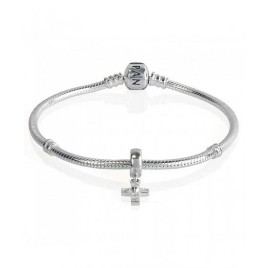 Pandora Bracelet-Silver Cubic Zirconia Cross Complete Jewelry