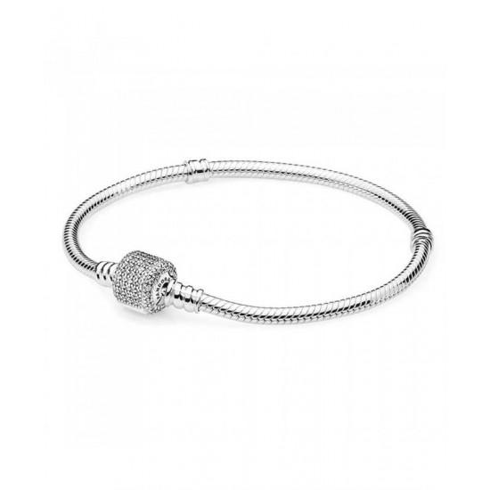 Pandora Bracelet-Silver Cubic Zirconia Signature Clasp Jewelry