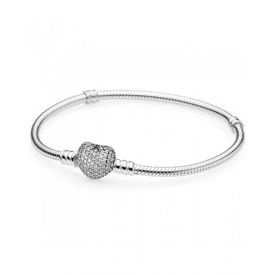 Pandora Bracelet-Silver Pave Heart Moments Jewelry