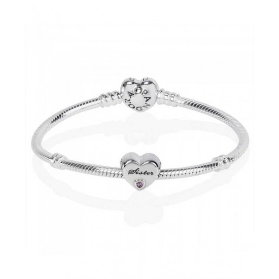 Pandora Bracelet-Silver Sisters Love Complete Jewelry