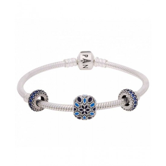 Pandora Bracelet-Sparkling Blue Rose Complete Jewelry