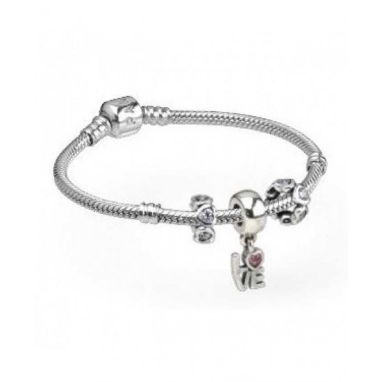 Pandora Bracelet-Pink Cz Love Dropper Complete Jewelry