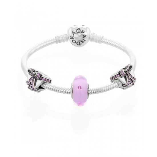 Pandora Bracelet-Pink Present Complete Jewelry