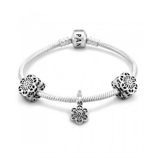 Pandora Bracelet-Silver Floral Lace Bundle Jewelry